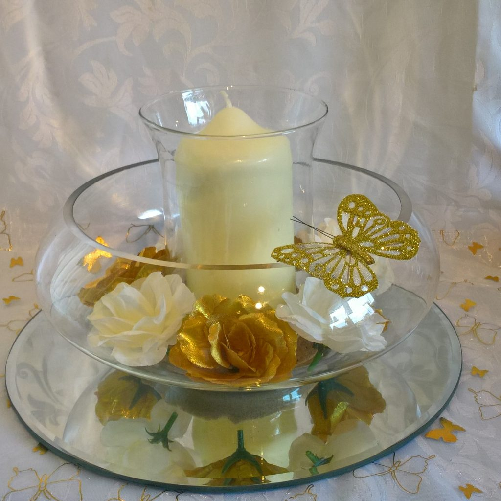 Wedding Centrepiece with floating candle dish and hurricane glass