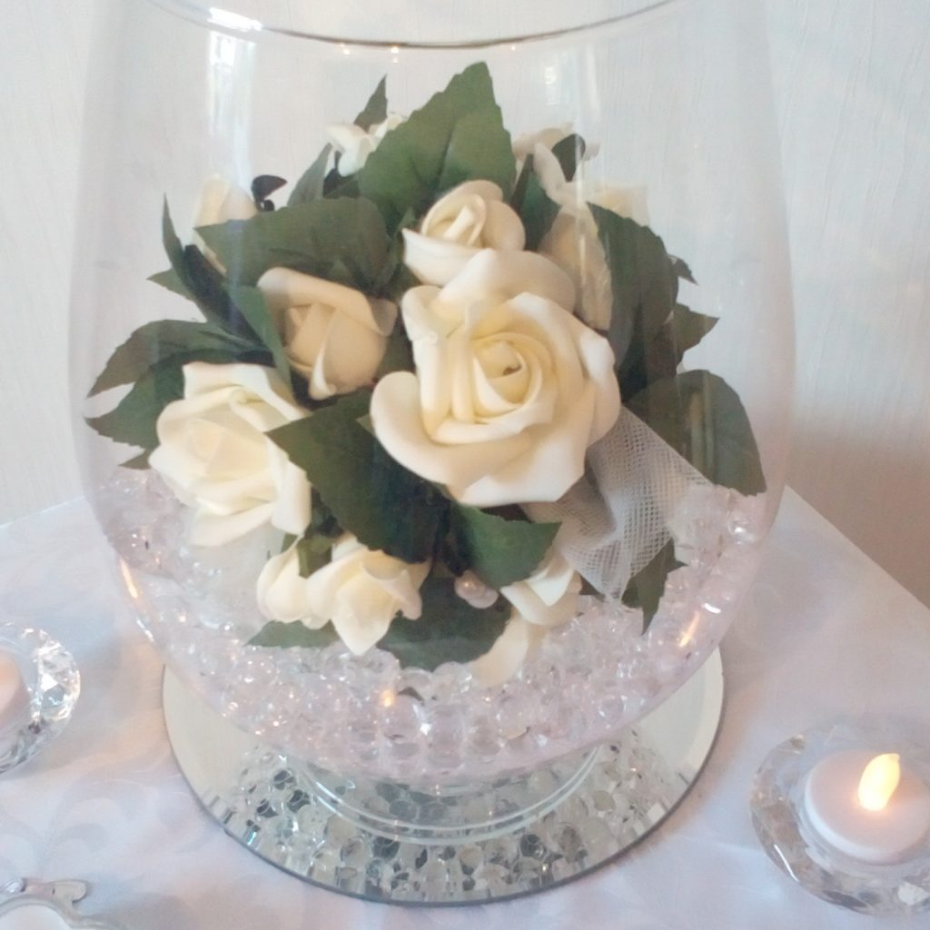 Wedding Centrepiece Brandy Glass with roses
