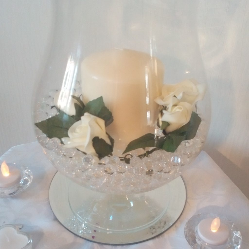 Wedding Centrepiece - Hurricane glass with candle and roses