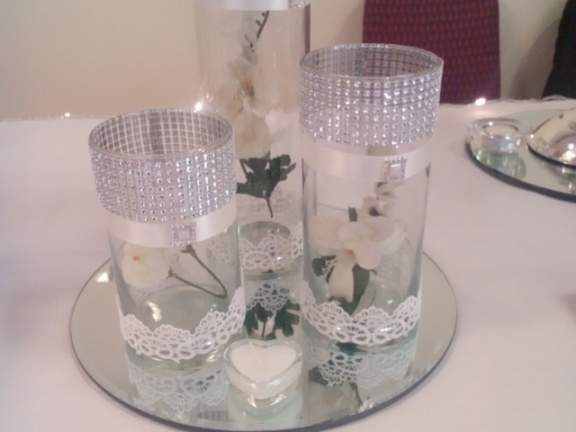 Three vase centrepiece with diamante trim