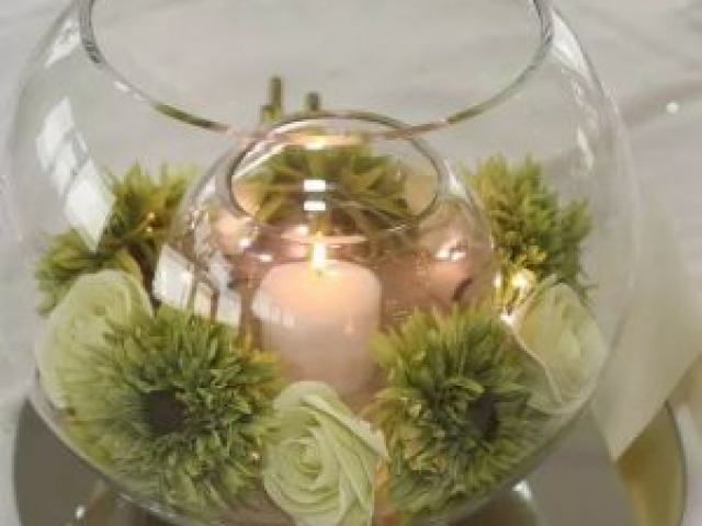 Wedding Centrepiece - Double goldfish bowl with candle