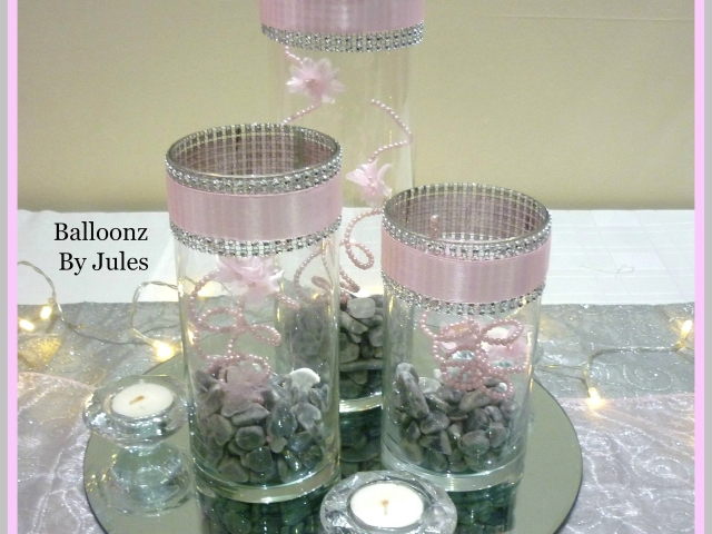 Three vases with stones, pearl sprays and diamonte ttrim