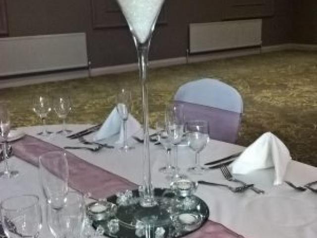 Martini glass table centrepiece