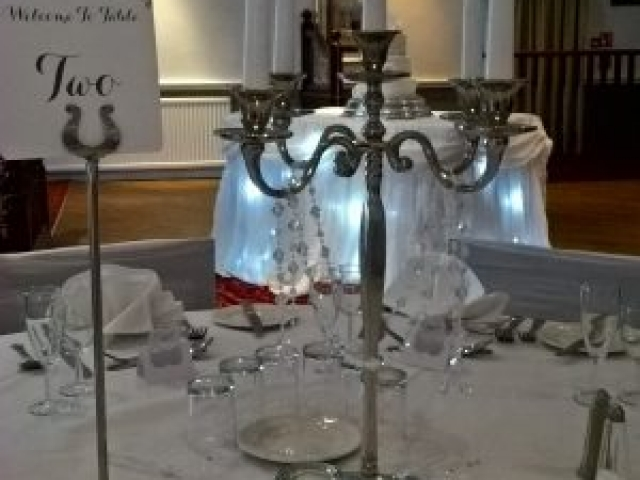 Wedding Centrepiece - Candleabra with crystal drops