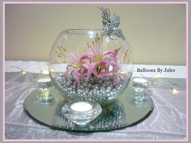 GGoldfish bowl with silver pearls pink flowers and silver butterfly