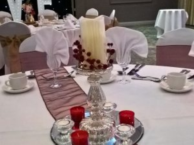 Wedding Centrepiece - gold mercury glass candlestick with candle