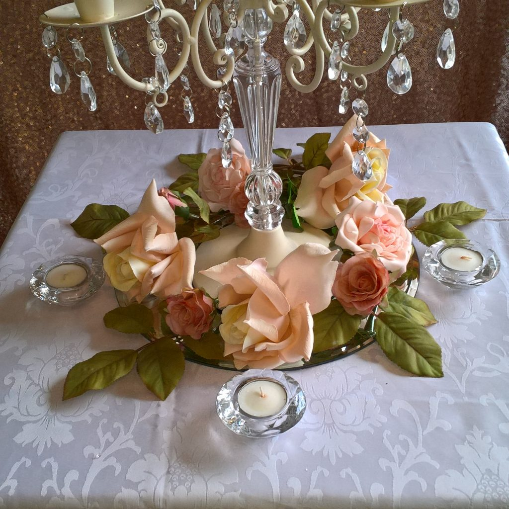 Wedding Centrepiece - cream candleabra with floral ring