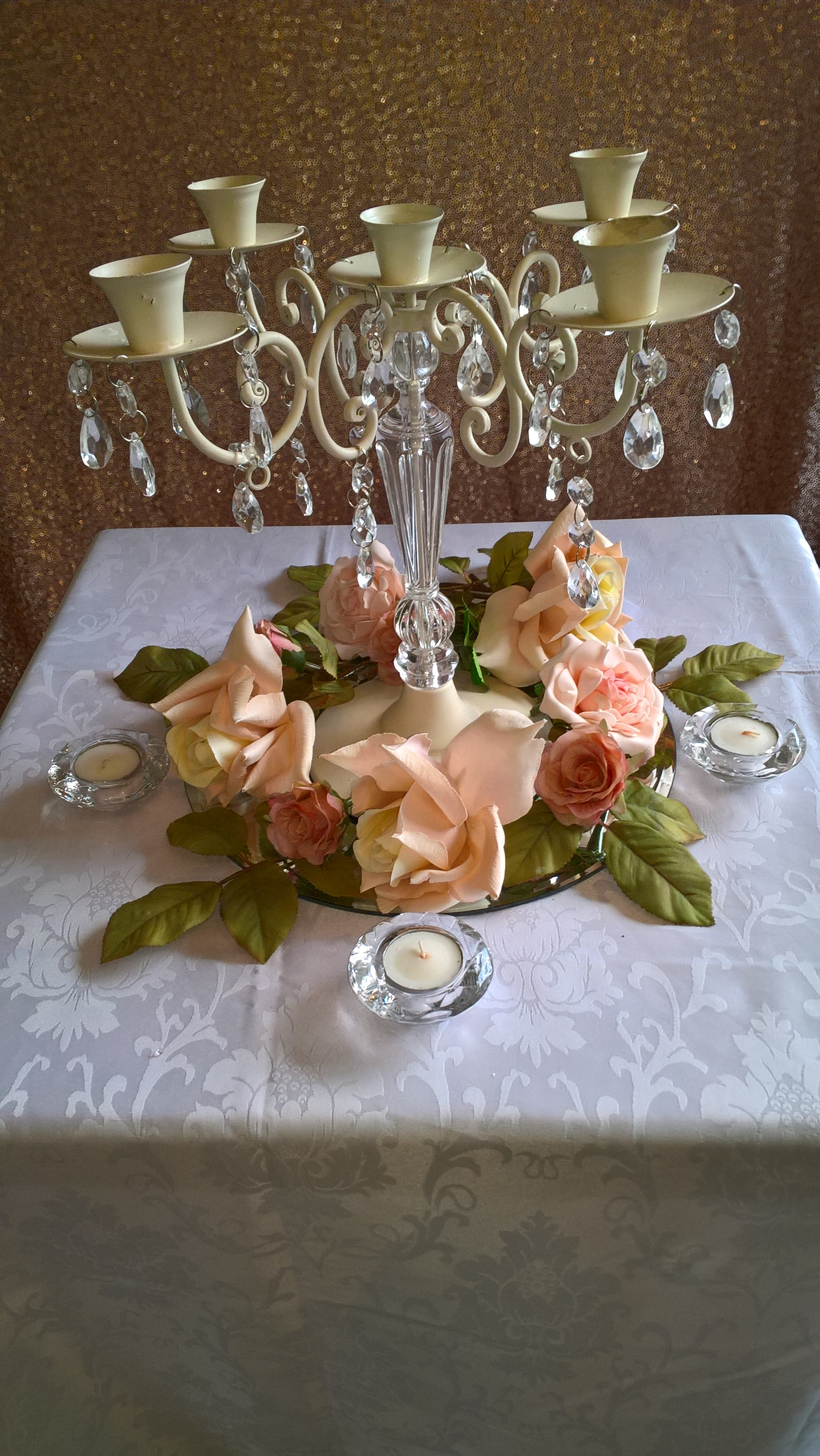 5 arm vintage style candleabra with rose candle ring