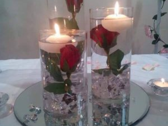 Wedding Centrepiece - Tri Vase with roses and candles
