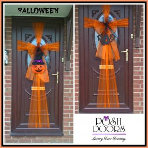 Halloween Door Wrap with Pumpkin head