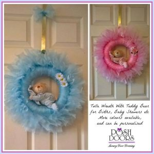 Tulle wreath with Teddy bear
