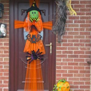 Halloween Door Wrap with scarecrow