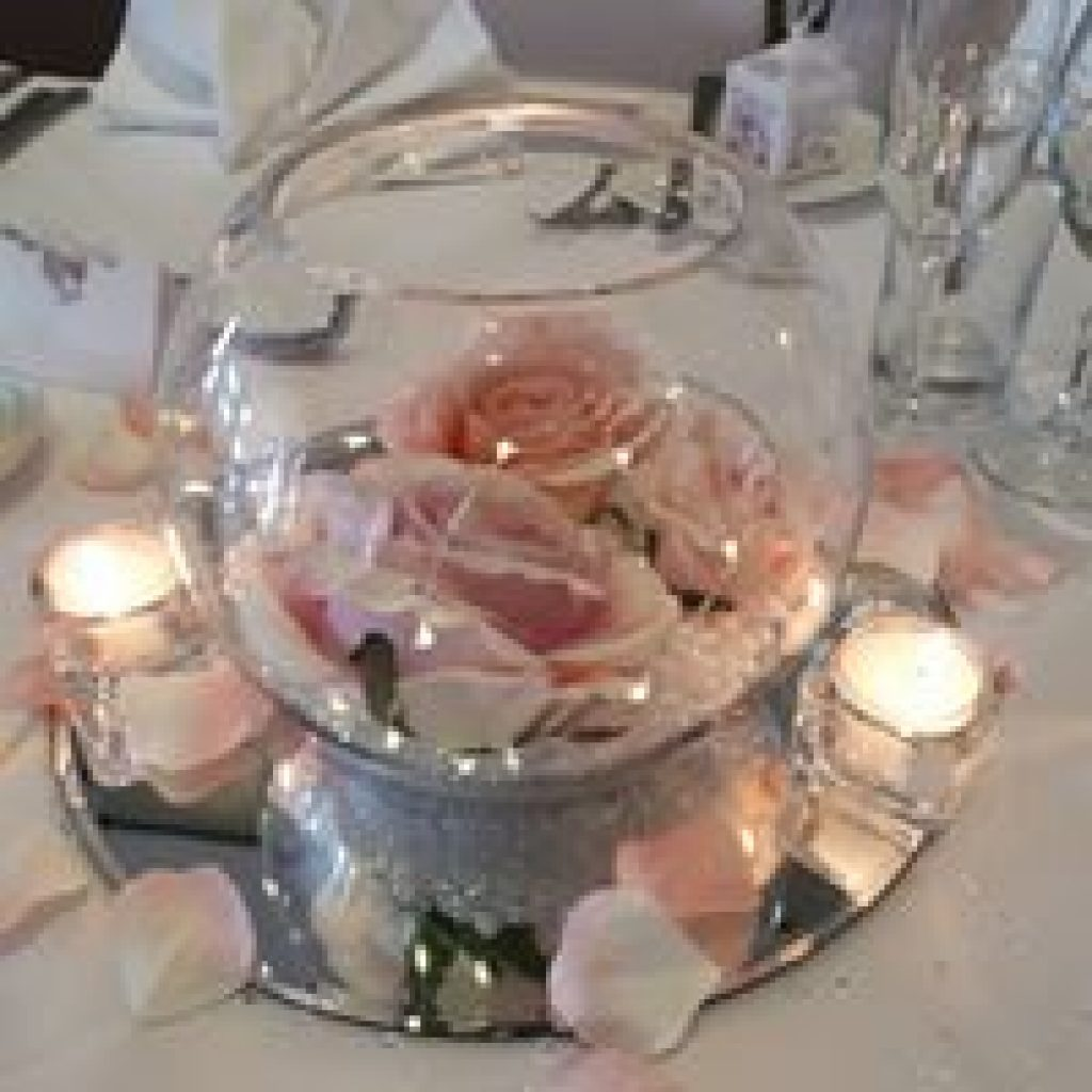 Wedding Centrepiece Goldfish Bowl with lights